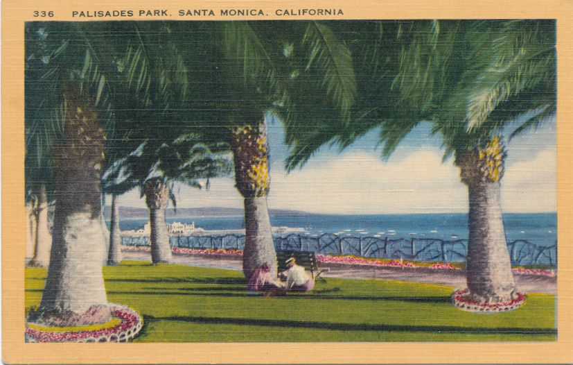 Palisades Park on Pacific Ocean Coast at Santa Monica, California - Linen Card