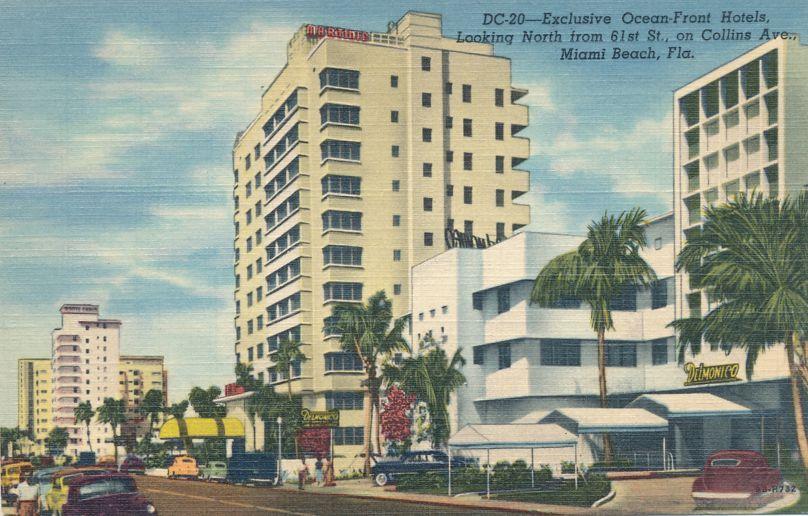 Ocean Front Hotels on Collins Avenue - Miami Beach, Florida - Linen Card