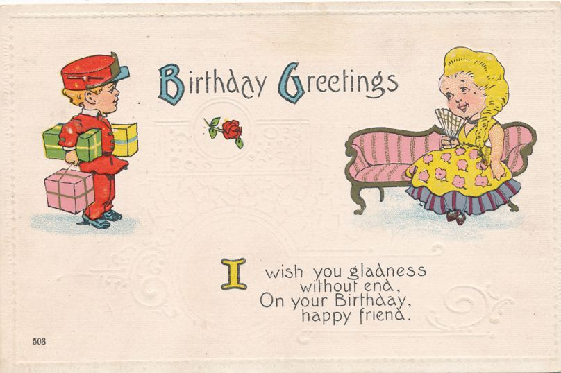 Birthday Greetings - Wish You Gladness without End - pm 1917 at Buzzards Bay MA - Divided Back