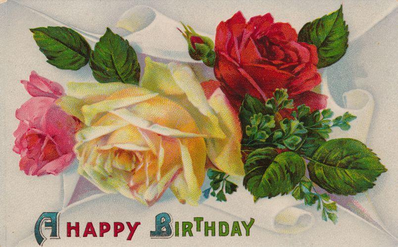 Happy Birthday Greetings with Roses - pm 1912 at Penn Yan NY - Divided Back