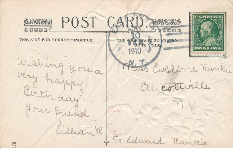 Happy Birthday Greetings Four Leaf Clover and Golden Bow - pm 1910 at East Otto NY - Divided Back