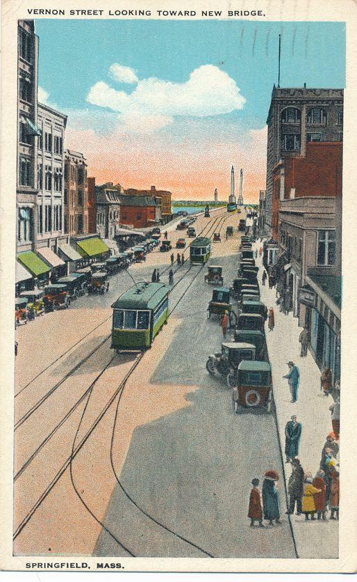 Trolley on Vernon Street looking toward New Bridge - Springfield, Massachusetts - pm 1931 at Holyoke MA - White Border