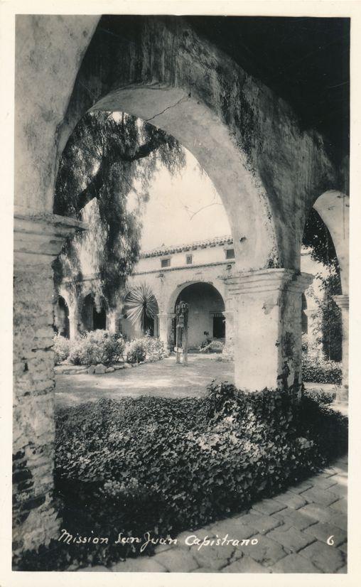 RPPC Courtyard View at Mission of San Juan Capistrano, California - Real Photo