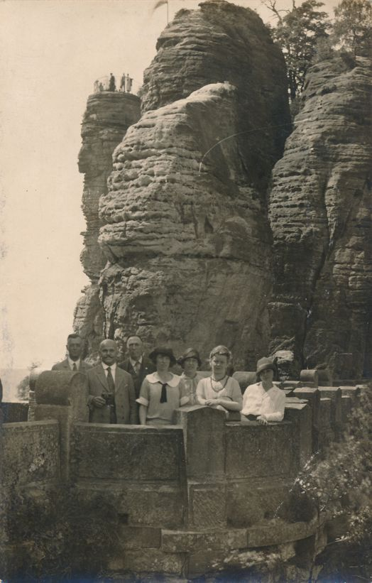 RPPC Tourists near Konigstein, Bavaria, Germany - Real Photo