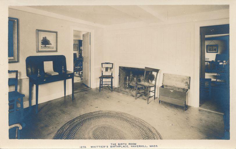 RPPC Birth Room of Poet John Greenleaf Whittier - Haverhill, Massachusetts - Real Photo