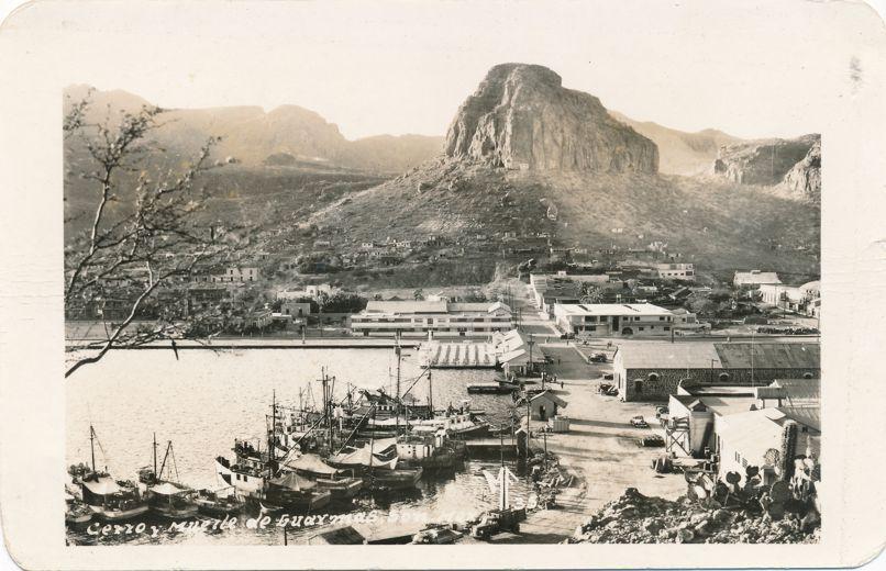 RPPC Harbor Scene at Guaymas, Mexico - Cerro y muetle - Real Photo