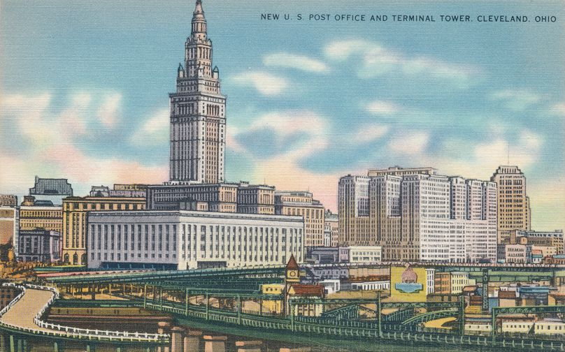 Cleveland, Ohio -New Post Office and Terminal Tower - Linen Card