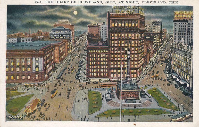Cleveland, Ohio - Heart of the City at Night - White Border