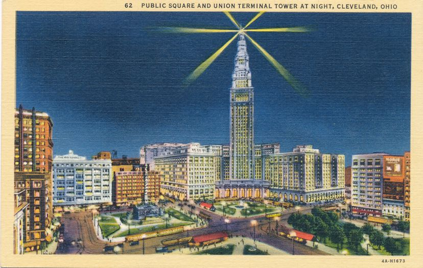 Cleveland, Ohio - Public Square and Union Terminal Tower at Night - pm 1940 - Linen Card