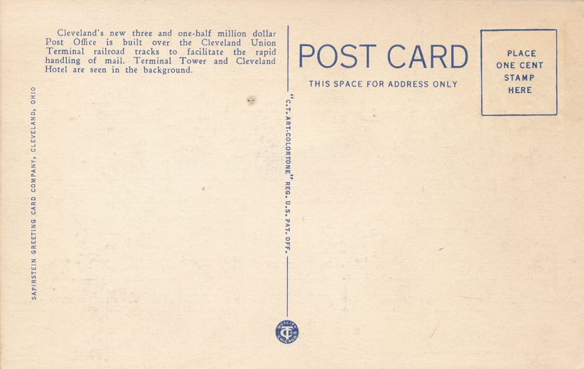 Cleveland, Ohio - Terminal Tower and Post Office - Linen Card