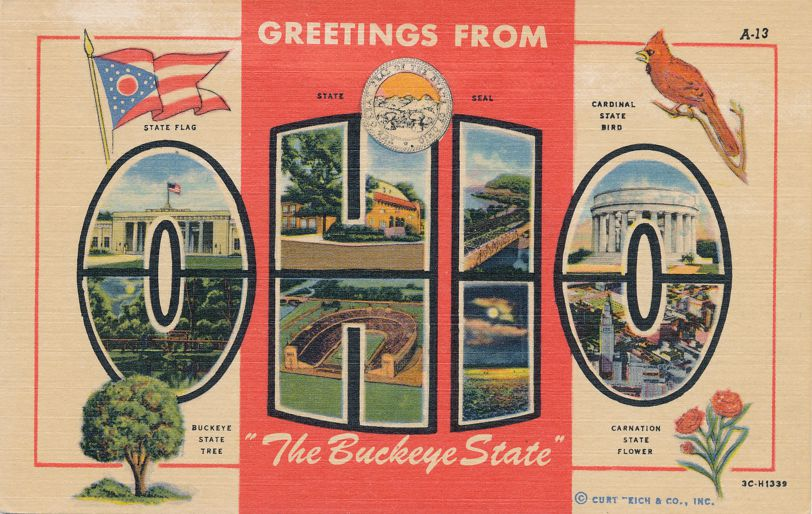 Greetings From Ohio The Buckeye State - Cardinal - Carnation - Linen Card