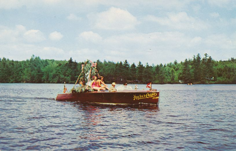 Annual Flotilla (parade) of Motor Boats - Fulton Chain, Adirondack Mountains, New York
