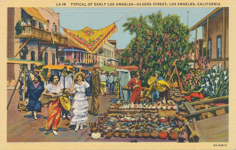 Olivera Street - Typical Early days of Los Angeles, California - Linen Card