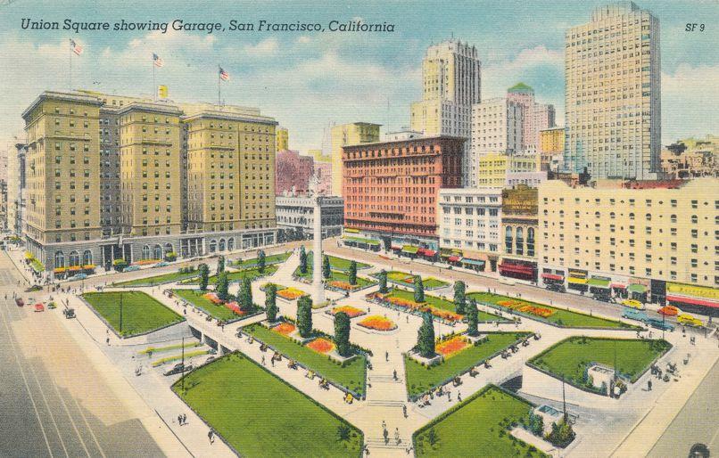 Union Square - Entrance to Underground Garage - San Francisco, California - Linen Card