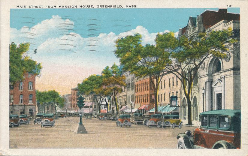 Main Street View from Mansion House - Greenfield, Massachusetts - pm 1930 - White Border