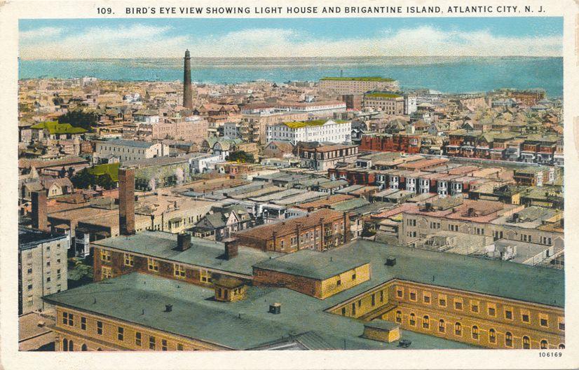Bird's eye View of Atlantic City, New Jersey and Light House - White Border