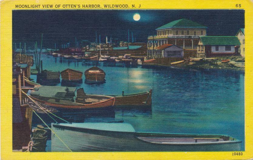 Moonlight View of Otten's Harbor - Wildwood, New Jersey - Linen Card