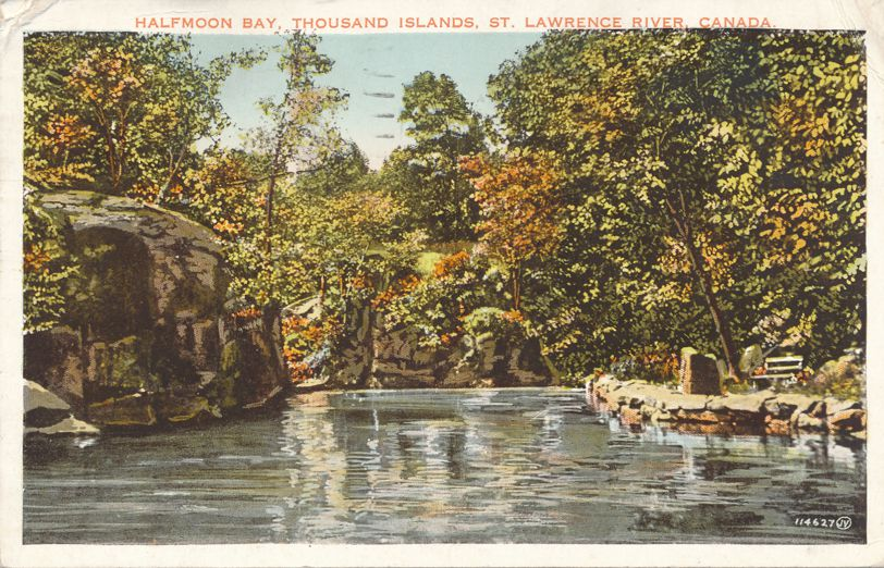 Halfmoon Bay on St Lawrence River - Thousand Islands, Ontario, Canada - pm 1938 at Gananoque ONT - White Border