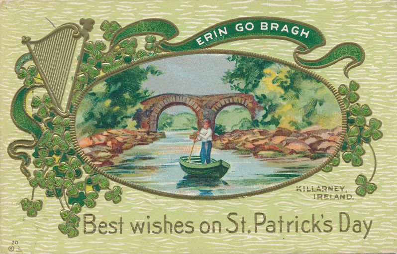 St Patrick's Day Greetings - Best Wishes from Killarney, Ireland - E. Nash - Divided Back