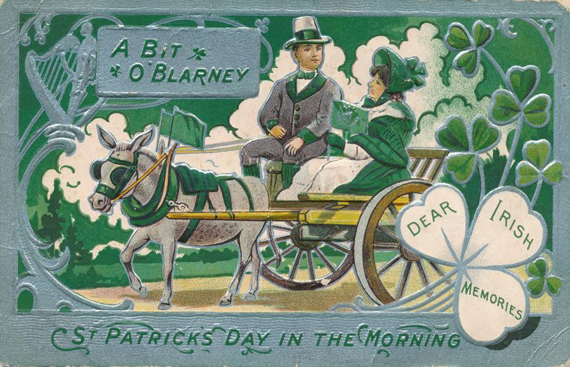 St Patrick's Day Greetings - A Bit O'Blarney - Horse and Buggy - Divided Back