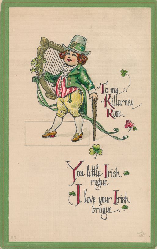 St Patrick's Day Greetings - Playing Celtic Harp to My Killarney Rose - Divided Back