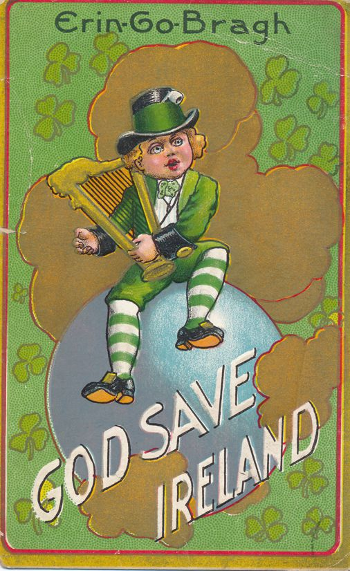 St Patrick's Day Greetings - Erin-Go-Bragh - God Save Ireland - Divided Back