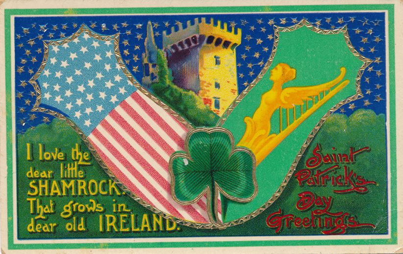 St Patrick's Day Greetings - Shamrock - US Flag - Castle - Divided Back