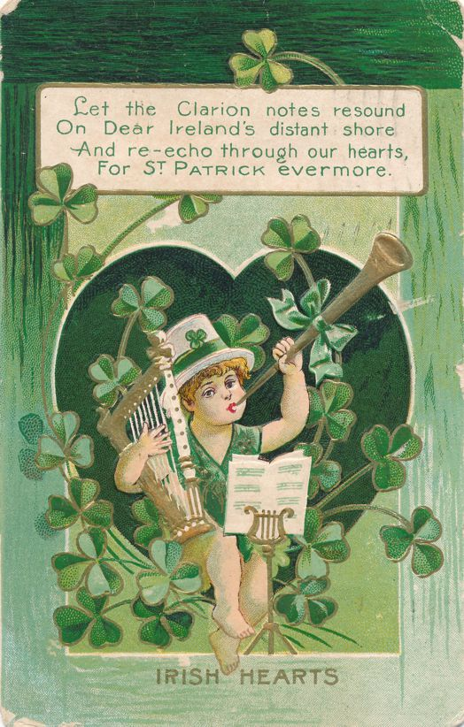 St Patrick's Day Greetings - Clarion Notes and Irish Hearts - pm 1909 at Newburgh NY - Divided Back