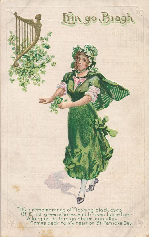St Patrick's Day Greetings - Irish Lass and Celtic Harp - Erin Go Bragh - Divided Back
