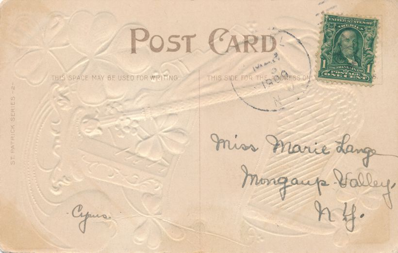 St Patrick's Day Greetings - Tune up the Celtic Harp - Erin Go Bragh - pm 1909 - Divided Back