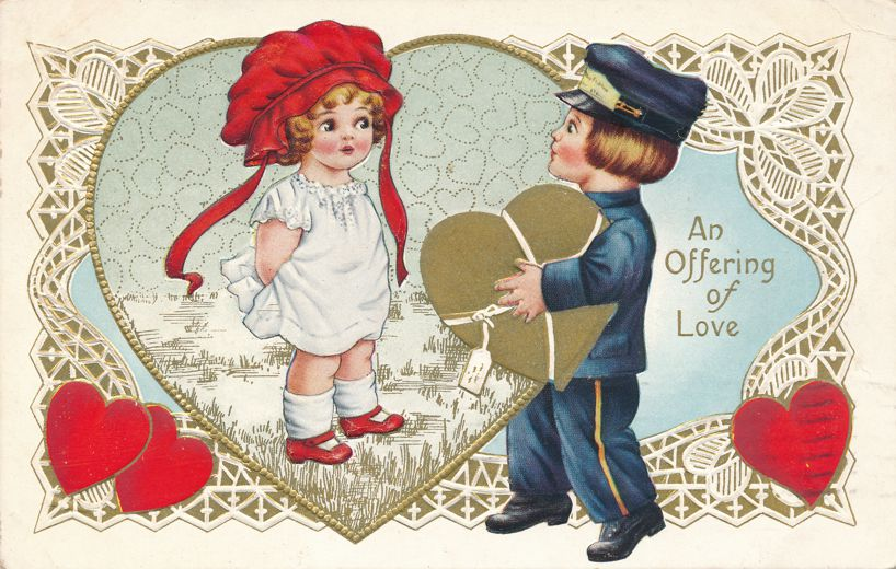 Valentine Greetings - Offering of Love - pm 1915 at Hartford CT - Whitney Made - Divided Back