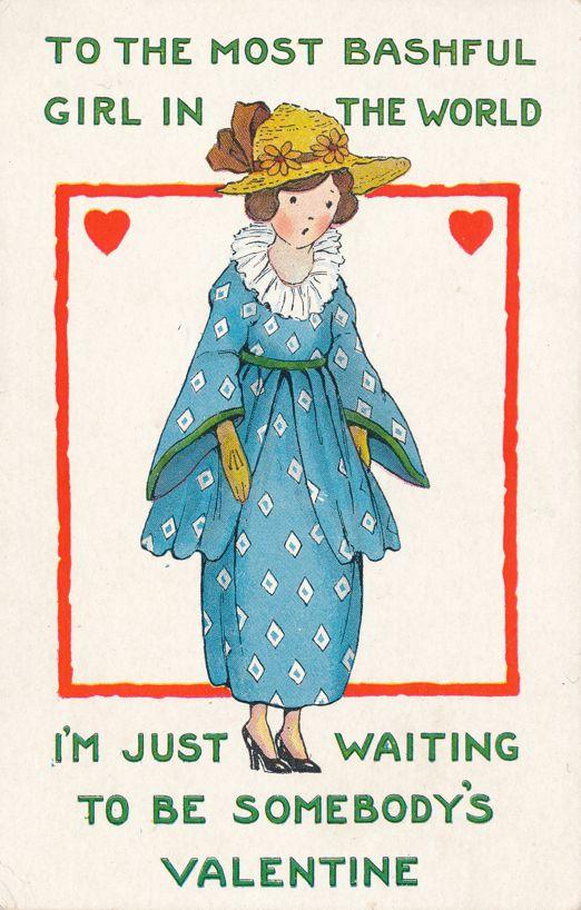 Valentine Greetings - Bashful Girl Waiting - Whitney Made - Divided Back