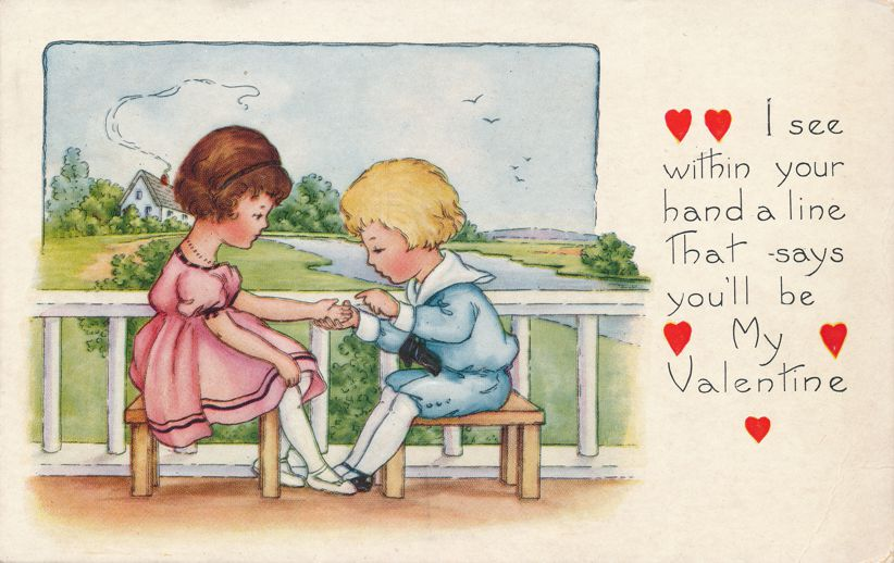 Valentine Greetings - Your hand says you'll be my Valentine - Whitney Made - Divided Back