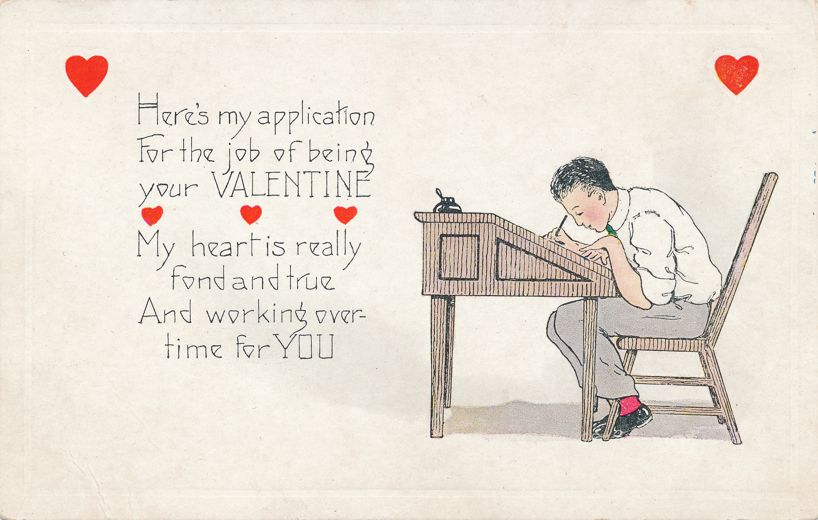 Valentine Greetings - Filling out Application to be Valentine - Whitney Made - Divided Back