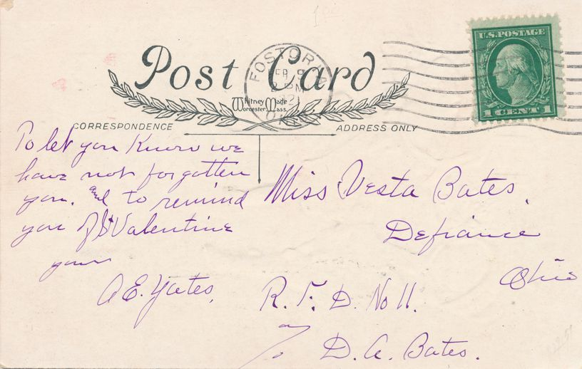 Valentine Greetings - You are Sliding into My Heart - pm 1921 at Fostoria OH - Whitney Made - Divided Back