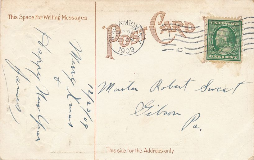 Christmas Greetings - Children Sliding on Sleds - pm 1909 at Binghamton NY - Divided Back
