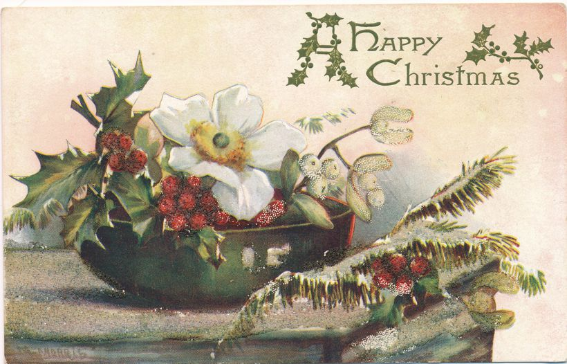Christmas Greetings - Holly Time - Flower Center Piece - Divided Back - Tuck