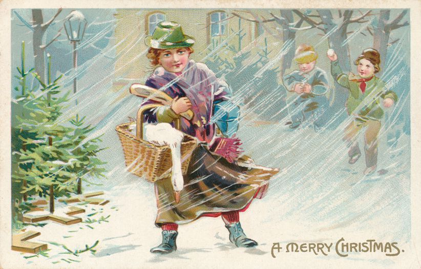 Christmas Greetings -Carrying Goose and Presents in Snow - Divided Back - Tuck