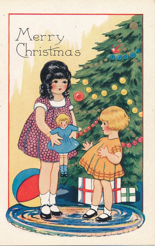 Christmas Greetings - Girls Doll and Tree - Whitney Made - Divided Back