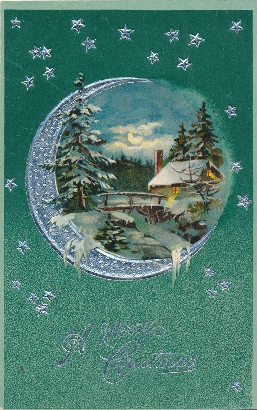 Christmas Greetings - Moon and Stars - Rural Scene - Divided Back