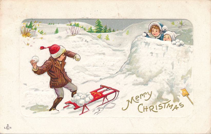 Christmas Greetings - Throwing Snowballs at Snow Fort - pm 1912 at Wolcott NY - Divided Back