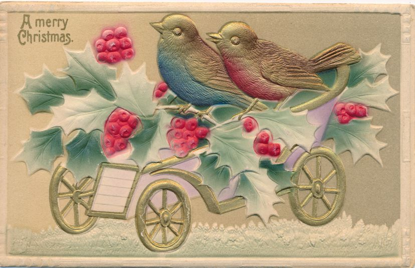 Christmas Greetings - Brds and Holly on Wagon - High Relief - Divided Back