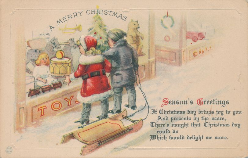Christmas Greetings - Children with Sled at Toy Store - Julius Pollak - pm 1921 at Highland Falls NY - Divided Back