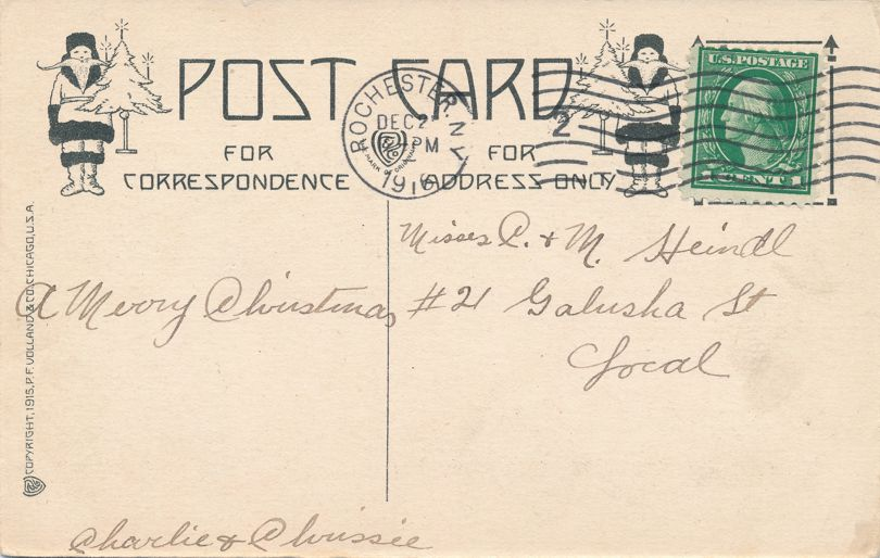 Christmas Greetings - Ribbon of Friendship from Your Heart to Mine - pm 1916 at Rochester NY - Divided Back