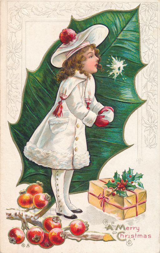 Christmas Greetings Pretty Girl dressed in White Holly and Gift - E Nash - pm 1912 at Rochester NY - Divided Back