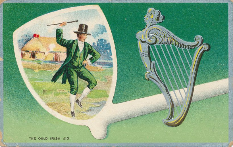 St Patrick's Day Greetings - Celtic Harp and Dancing a Irish Jig - pm 1912 at Emerald WI - Divided Back