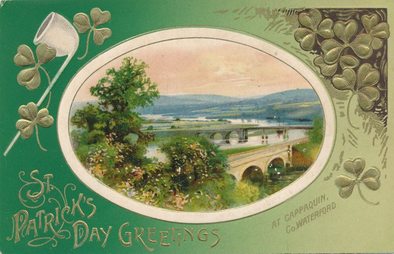 St Patrick's Day Greetings - Cappaquin, Co. Waterford Scene - Divided Back