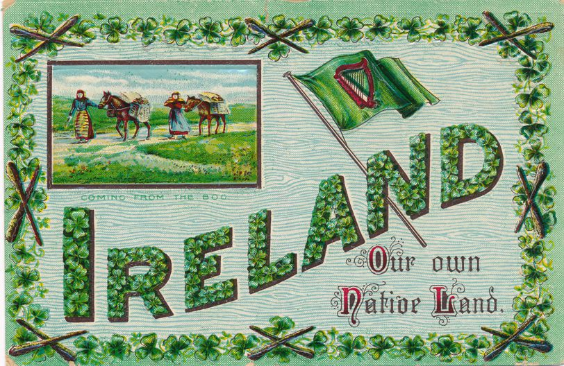 St Patrick's Day Greetings - Coming from the Bog, Ireland - pm 1912 at Groton NY - Divided Back