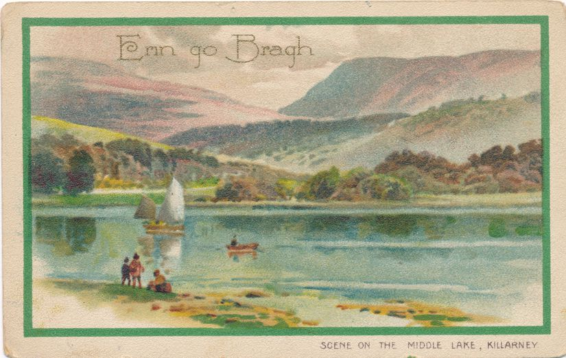 St Patrick's Day Greetings - Scene on Middle Lake, Killlarney, Ireland - Divided Back