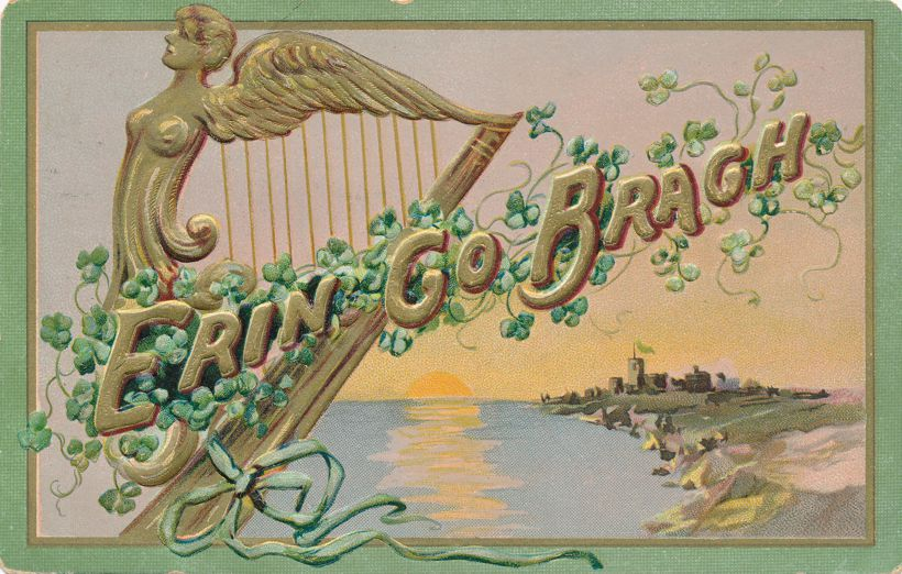 St Patrick's Day Greetings - Celtic Harp - Erin Go Brach - pm 1907 at Indianapolis IN - Tuck - Divided Back